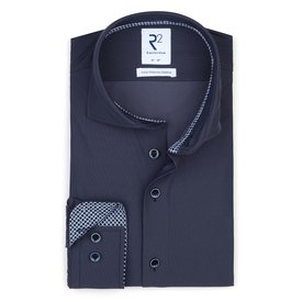 Dark blue 4-way stretch shirt.