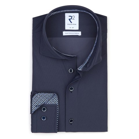 Dark blue 4-way stretch shirt.