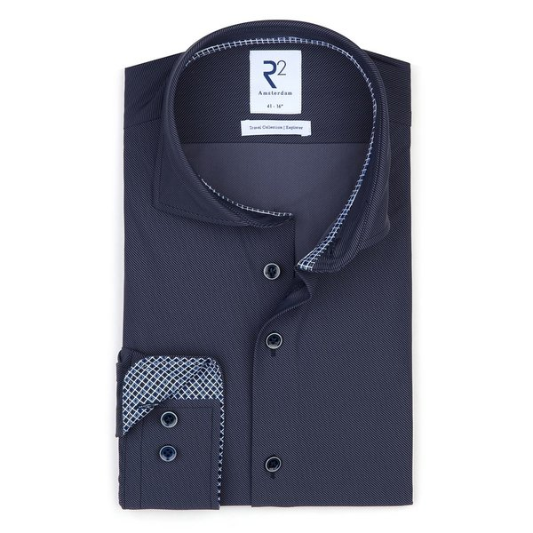R2 Dark blue 4-way stretch shirt.