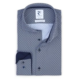 White graphical print 4-way stretch shirt.