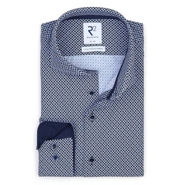 R2 Dark blue graphical print 4-way stretch shirt.