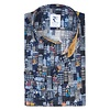 Dark blue Amsterdam houses print cotton shirt.