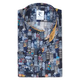 R2 Dark blue Amsterdam houses print cotton shirt.