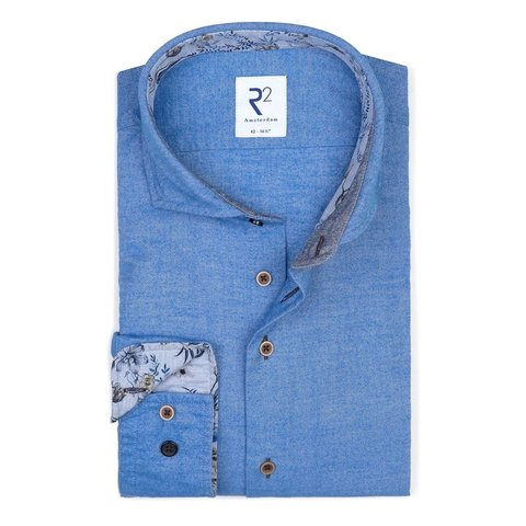 Blaues Baumwollhemd Flanel.