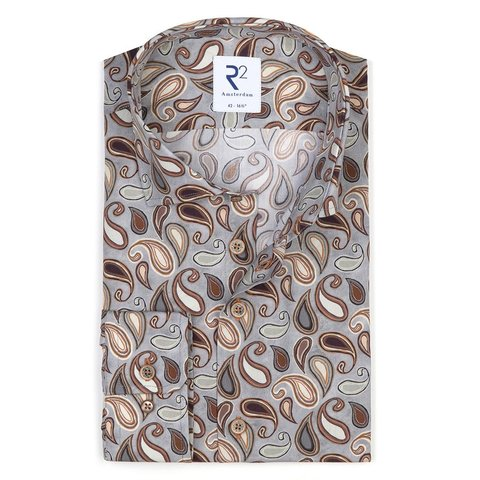 Baumwollhemd mit grauem Paisleymuster.