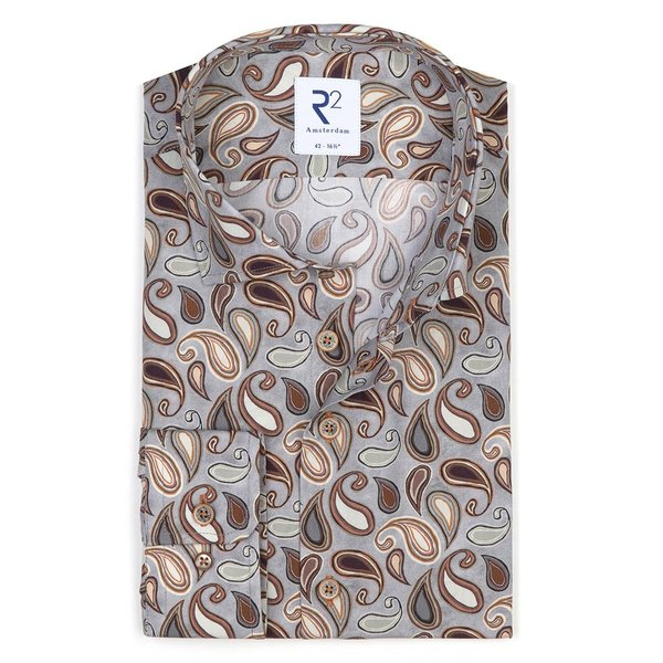 Grijs paisley print katoenen overhemd.