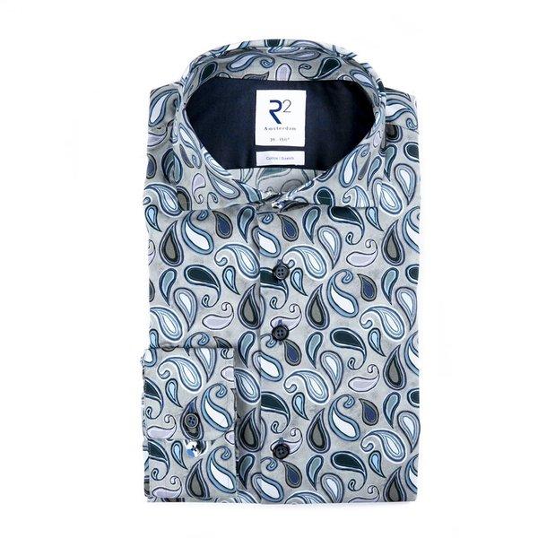 Grey paisley print cotton shirt.