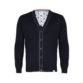 Navy blue wool cardigan.