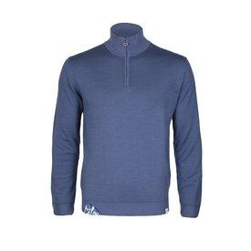 Blauer Wollpullover.