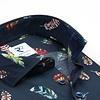 Dunkelblaues Baumwollhemd mit Federaufprint.