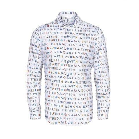 Weißes Baumwollhemd mit Text AMSTERDAM ZOO.