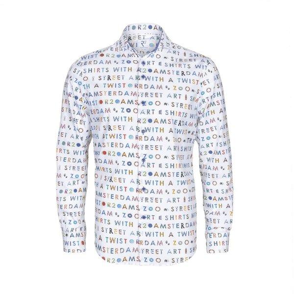R2 Weißes Baumwollhemd mit Text AMSTERDAM ZOO.
