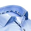 Plus size. Lichtblauw mini-bloemenprint 2 PLY organic cotton overhemd.