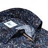 Plus size. Dark blue letter-digit print cotton shirt.