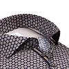 Plus size. Dark blue floral print cotton shirt.