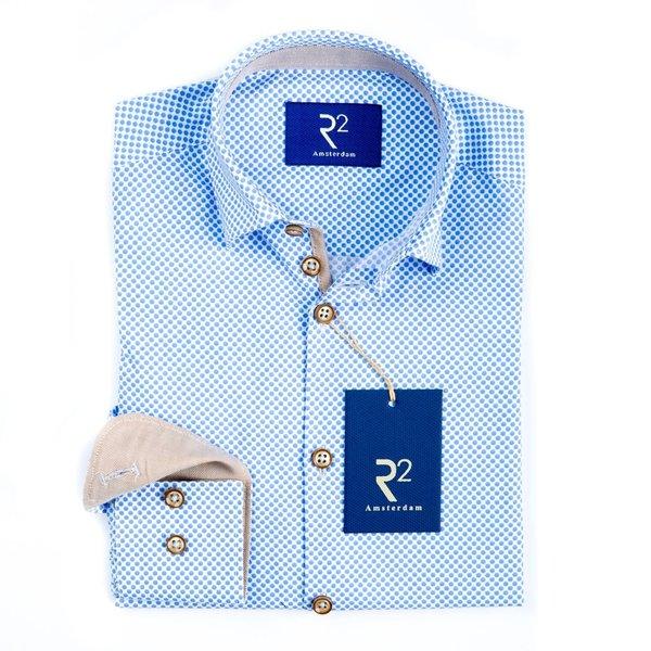 R2 Kids wit stippenprint katoenen overhemd.