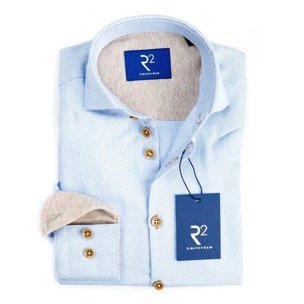 R2 Kids lichtblauw mini-print mouliné overhemd.