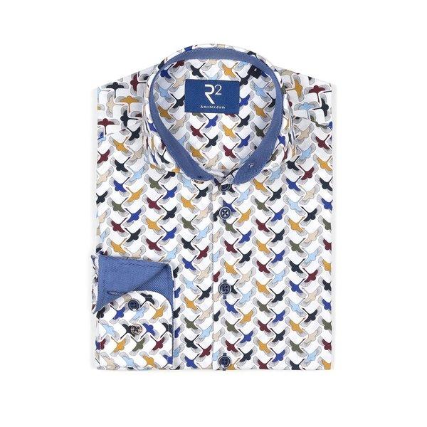R2 Kids Baumwollhemd mit weißem Vogeldruck.