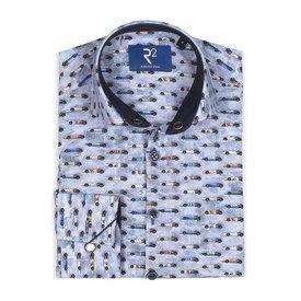 Kids light blue car print cotton shirt.