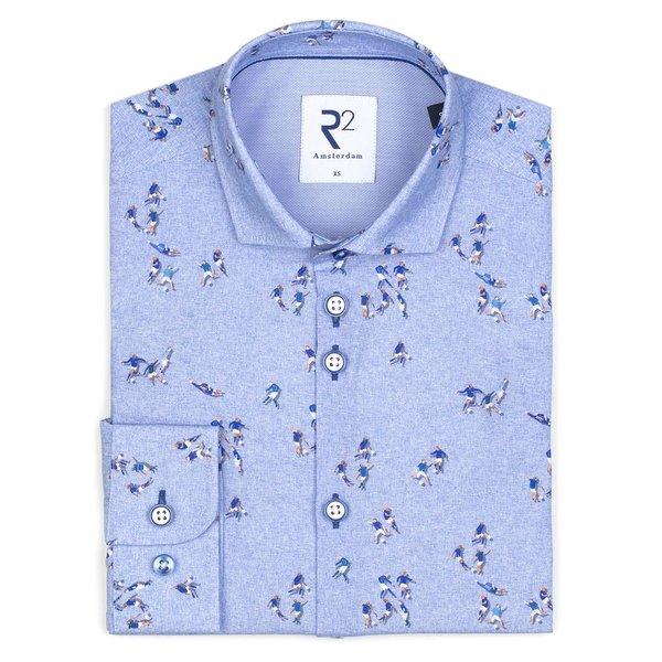 Kids light blue football print cotton shirt.