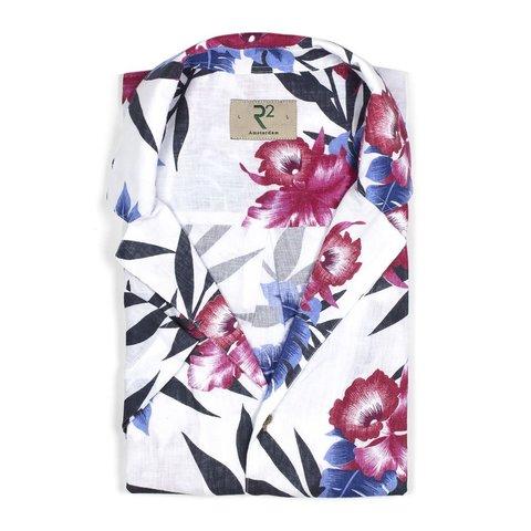 Korte mouwen bloemen linnen overhemd.