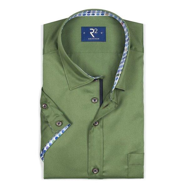 R2 Kurzärmeliges grünes Baumwollhemd.
