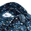 Extra Lange Mouwen. Blauw verenprint 2 PLY katoenen overhemd.