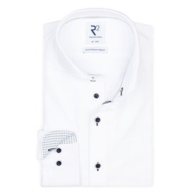 R2 Weißes Bügelfrei 4-way Stretch Hemd.