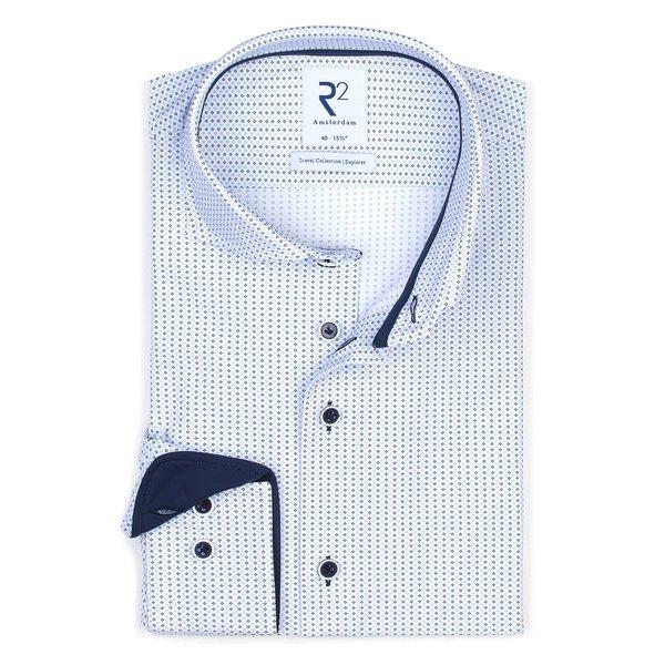 R2 Wit grafische print 4-way stretch strijkvrij overhemd.