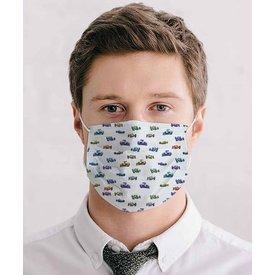 White race car print mouth mask
