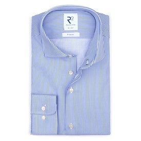R2 Blauw strijkvrij gestreept katoenen overhemd.