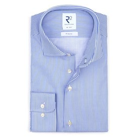 R2 Blue non-iron striped cotton shirt.