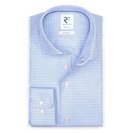 R2 Lichtblauw strijkvrij Pied de Poule katoenen overhemd.