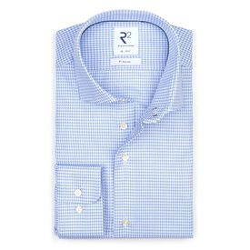 R2 Light blue non-iron Pied de Poule cotton shirt.