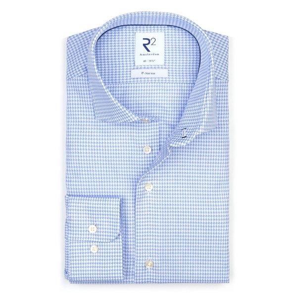 Lichtblauw strijkvrij Pied de Poule katoenen overhemd.