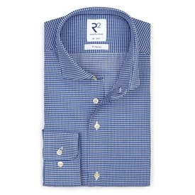 R2 Strijkvrij Pied de poule blauw katoenen overhemd.