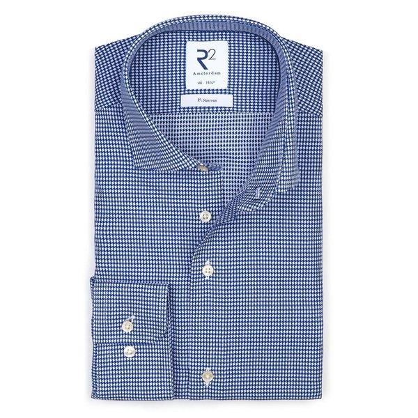 R2 Iron-free Pied de poule blue cotton shirt.