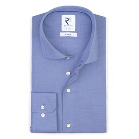 R2 Iron-free mini pied de poule blue cotton shirt.