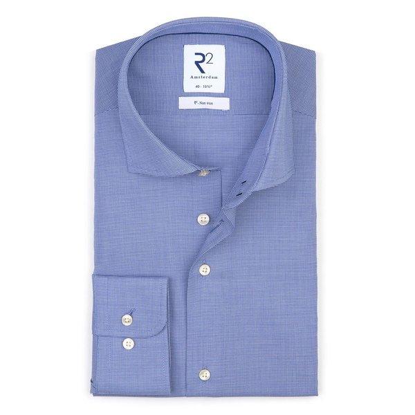 R2 Iron-free mini pied de poule blue cotton shirt.
