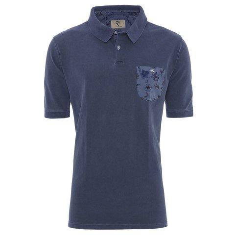 Donkerblauwe washed polo.