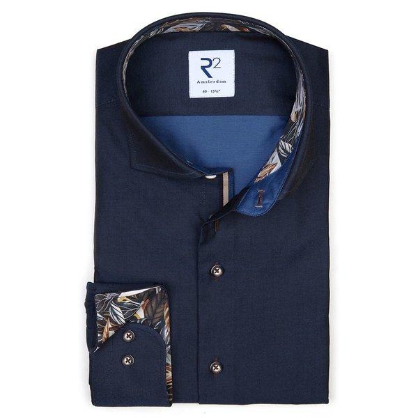 Navy blue cotton shirt.