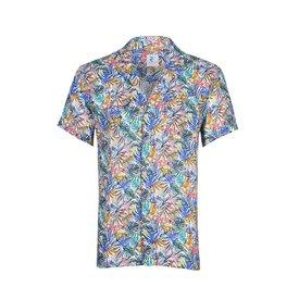 Meerkleurige tropische planten linnen overhemd.
