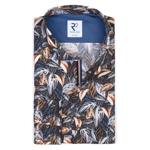 R2 Navy blauw bladerenprint katoenen overhemd.