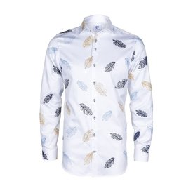 R2 White embroidered leaf 2 PLY cotton shirt.