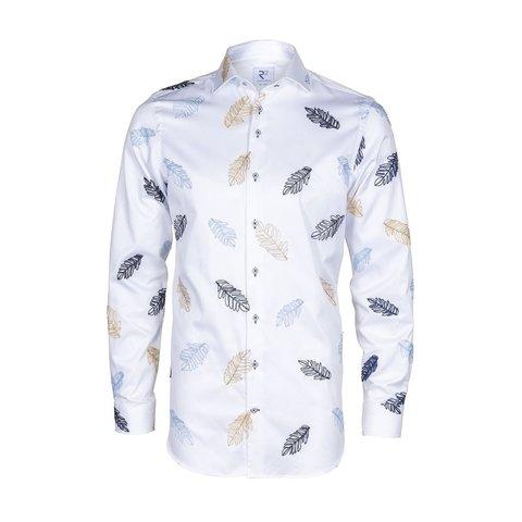 Wit geborduurde bladeren 2 PLY katoenen overhemd.