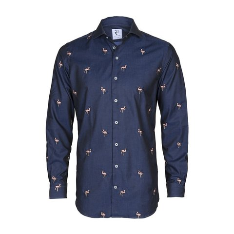Navy blue embroidered flamingo 2 PLY cotton shirt.