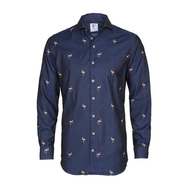 Marineblau besticktes Baumwollhemd mit Flamingos.
