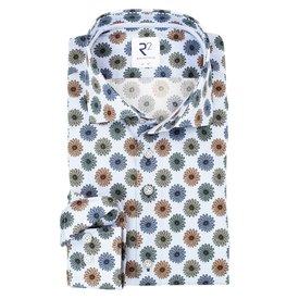 Hellblaues Baumwollhemd mit Blumenprint.