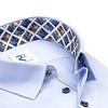 Lichtblauw Herringbone katoenen overhemd.
