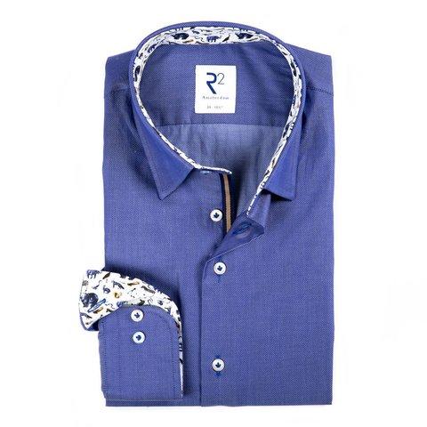 Blauw Herringbone katoenen overhemd.